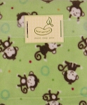 Beansprout Micro Polar Fleece Blanket Light Green Monkey