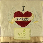 Pem America I Heart Daddy Satin Trim Blanket, Cream