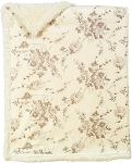 Laura Ashley Carved Printed Mink Sherpa Blanket Ivory