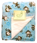 Pem America Monkey Toss Blanket Blue