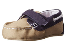 Ralph Lauren Layette Sander EZ Boat Shoe in Tan Canvas/Navy Color Block