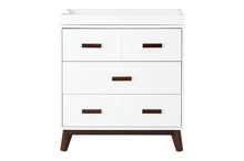 Million Dollar Scoot 3-Door Dresser Withe with Dark Wood