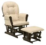 Storkcraft Hoop Glider & Ottoman in Espresso with Beige Cushion