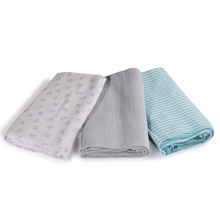 Summer Infant SwaddleMe® Muslin Blankets 3 pk - Grey Anchors