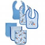Hudson Baby 6-Pieces Bib & Burp Cloth Set-Boy