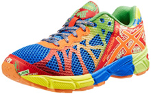 Asics GEL-Noosa Tri 9 GS Running Shoe , Kids - Royal/Flash Orange/Flash Yellow