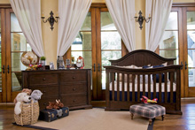 Million Dollar Baby Classic Tilsdale Crib, Double Dresser, Nightstand, Conversion Kit and Changing Tray, Rich Walnut