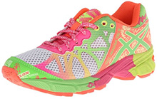 Asics GEL-Noosa Tri 9 GS Running Shoe , Kids - White/Lime/Hot Pink