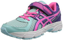 Asics Pre-Contend 2 PS Running Shoe , Kids - Ice Blue/Hot Pink/Purple