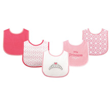 Luvable Friends Fun Prints 5 Count Drooler Bibs, Princess