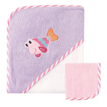 Luvable Friends Hooded Towel & Washcloth, Purple Fish
