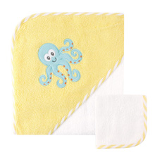 Luvable Friends Hooded Towel & Washcloth, Octopus