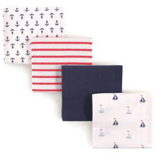 Luvable Friends 4 Pack Flannel Receiving Blankets, Sailboats