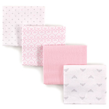 Luvable Friends 4 Pack Flannel Receiving Blankets, Princess
