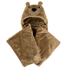 Hudson Baby Plush Hooded Blanket, Bear