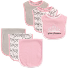 Hudson Baby Bib and Burp Cloth Set, 6-Piece, Baby Girl Princess