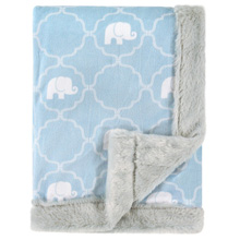 Hudson Baby Plush Blanket With Furry Binding & Back - Elephant