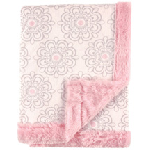 Hudson Baby Plush Blanket With Furry Binding & Back - Modern Floral