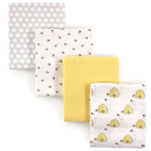 Hudson Baby Flannel Receiving Blankets, 4 Pack, Bees