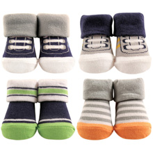 Hudson Baby 4 Piece Baby Sock Gift Set, Athletic, 0-9 Months