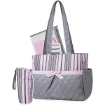 Tender Kisses Pink Striped 5-Piece Diaper Bag Set