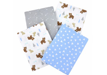 Cuddlet Boy Woodland Animals 4Pk Flannel Blankets