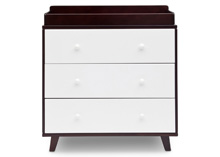 Delta Children Ava 3 Drawer Dresser with Changing Top Black Espresso with White