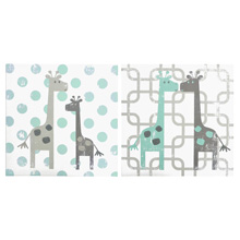 The Peanut Shell Uptown Giraffe 2 Piece Canvas Wall Art