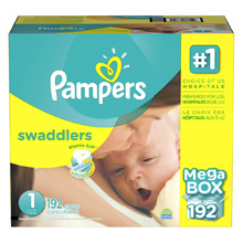 Pampers Swaddlers Size 1 Newborn Disposable Diapers Mega Box - 192 Count