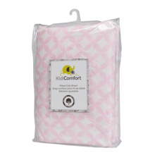 Kidiway 100% Cotton Fitted Crib Sheet, Diamond Pink