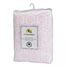 Kidiway 100% Cotton Fitted Crib Sheet, Hexagon Pink