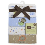Just Born 4 Pack Flannel Blanket-  Boy
