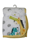 Cuddletime Fluffy Fleece Blanket with Giraffe and Zebra Applique