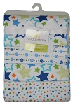 Cuddlle Time 4 Pack Flannel Receiving Blanket - Star Print
