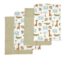 Just Born Jungle Jubilee 4 Pack Flannel Blankets