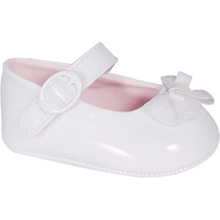 Baby Deer Infant Girls White Patent Skimmer