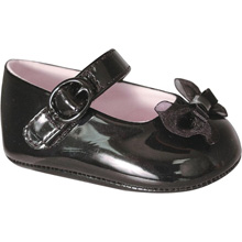 Baby Deer Infant Girls Black Patent Skimmer