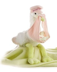 Aurora Special Delivery Stuffed Animal Stork and Bear Pink