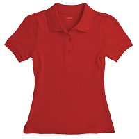 French Toast Girls Short Sleeve Stretch Pique Polo, Red