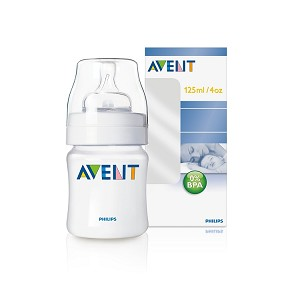 Philips Avent Classic Feeding Bottle, 4oz Newborn Flow Nipple - 5 pack
