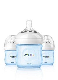Philips AVENT Natural Baby Bottle Newborn Flow Nipple 0+m 4oz, 3 Pack, Blue