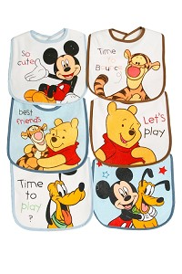 Disney 6 Pack Character Bibs by Baby King
