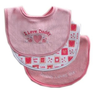 Baby Vision Bibs 3pk Luvable Friends - Pink