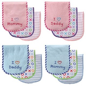 Baby Vision I Love Baby Burp Cloths