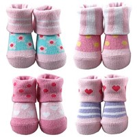 Baby Vision Stretch Baby Booties 0/9 MOS in Pink
