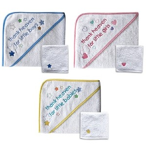 "Baby Vision Hooded Towel & Wash Cloths ""Thank Heaven for..."""