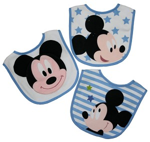 Disney 3-Pack Feeder Bibs Mickey Blue