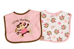 Baby Essentials Little Monkey 2 Pack Bibs