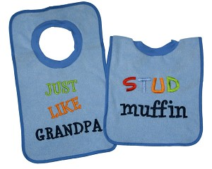"Baby Essentials� 2-Pack Pullover Bibs ""Stud Muffin"" Boy"