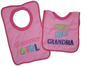 "Baby Essentials� 2-Pack Pullover Bibs ""Glamour Girl"""